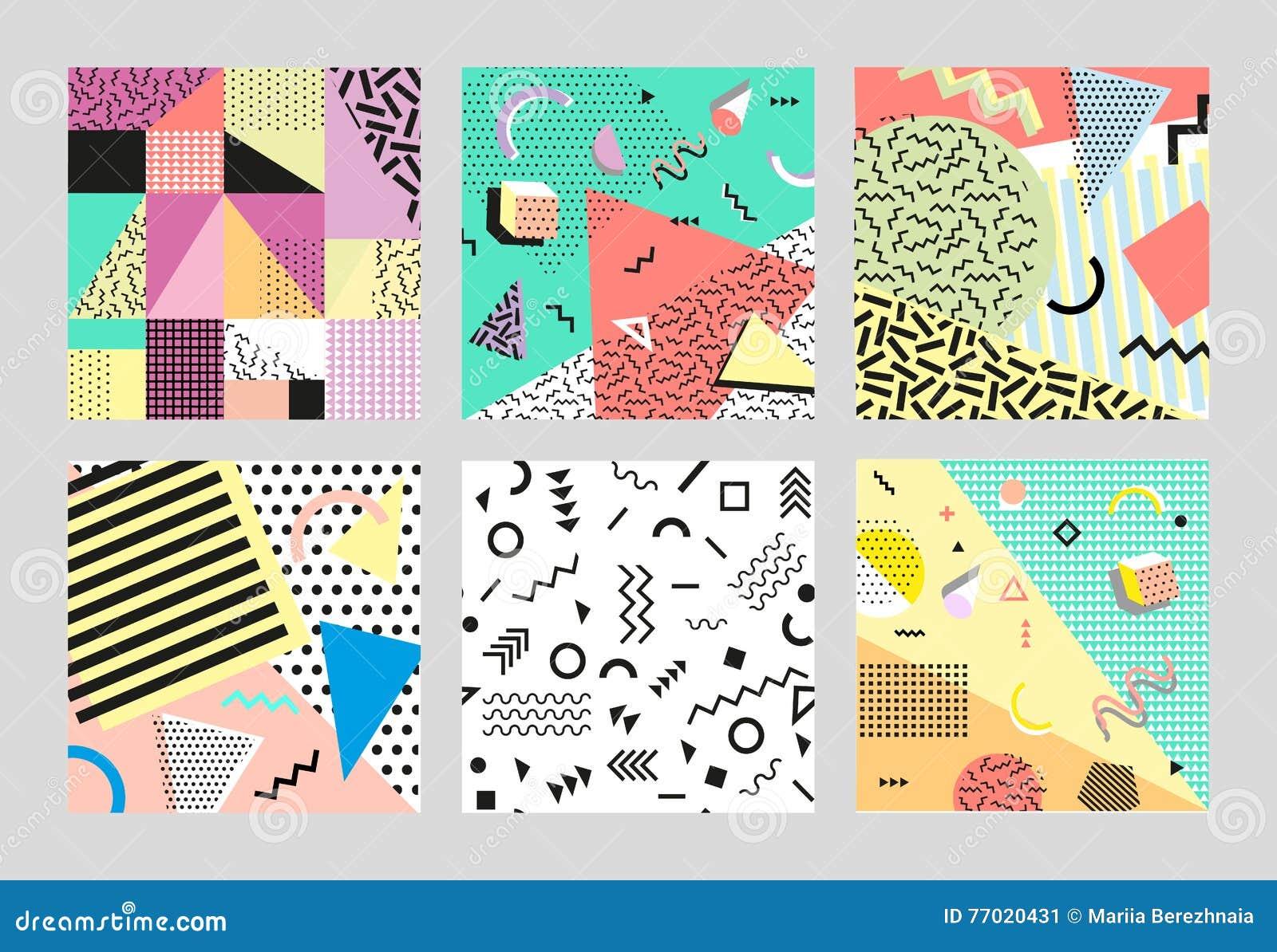 Retro uitstekende de jaren  80 of jaren  90manierstijl De kaarten van Memphis Grote reeks In geometrische elementen Moderne abstr