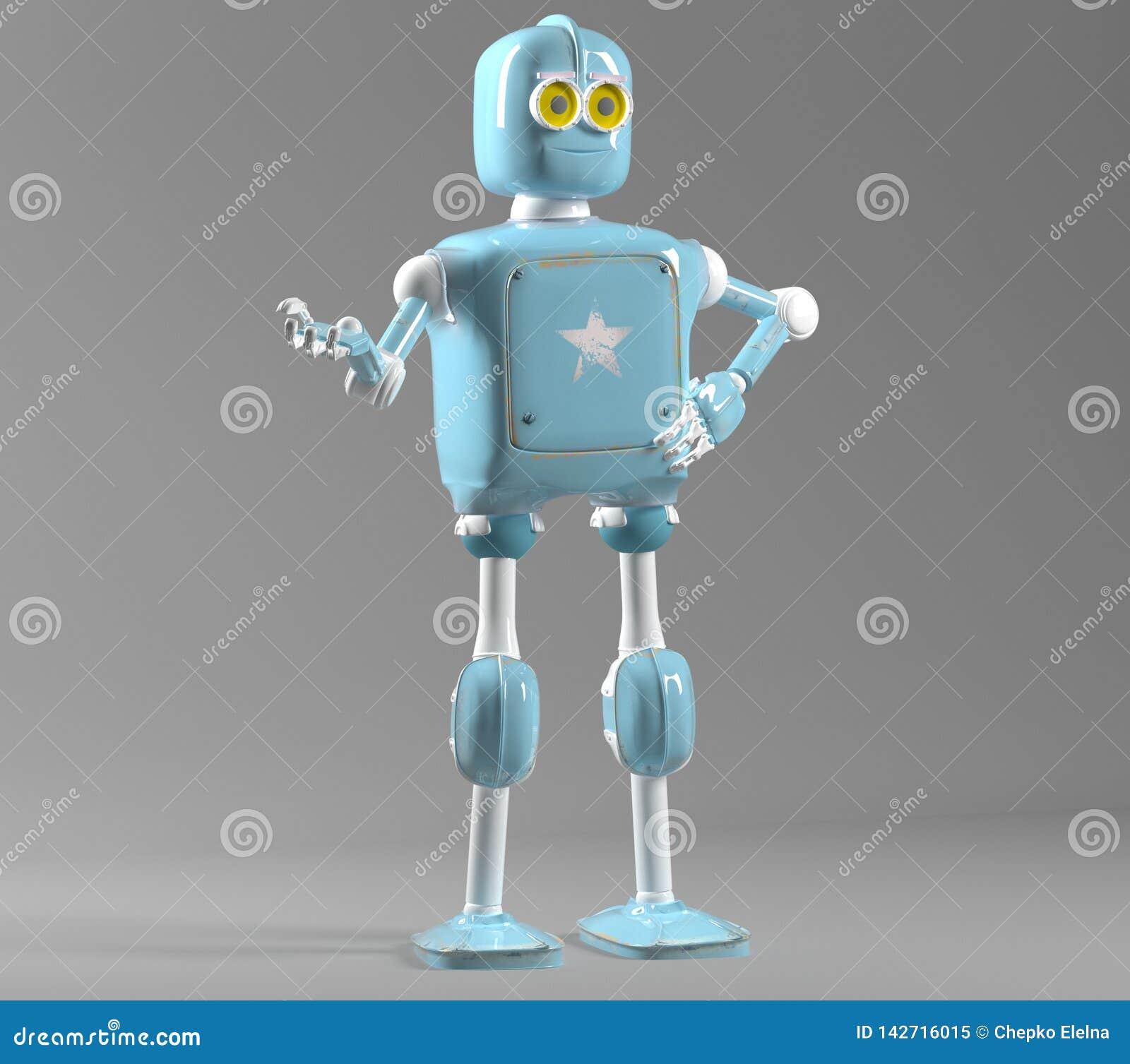 Retro uitstekende robot; op een witte achtergrond