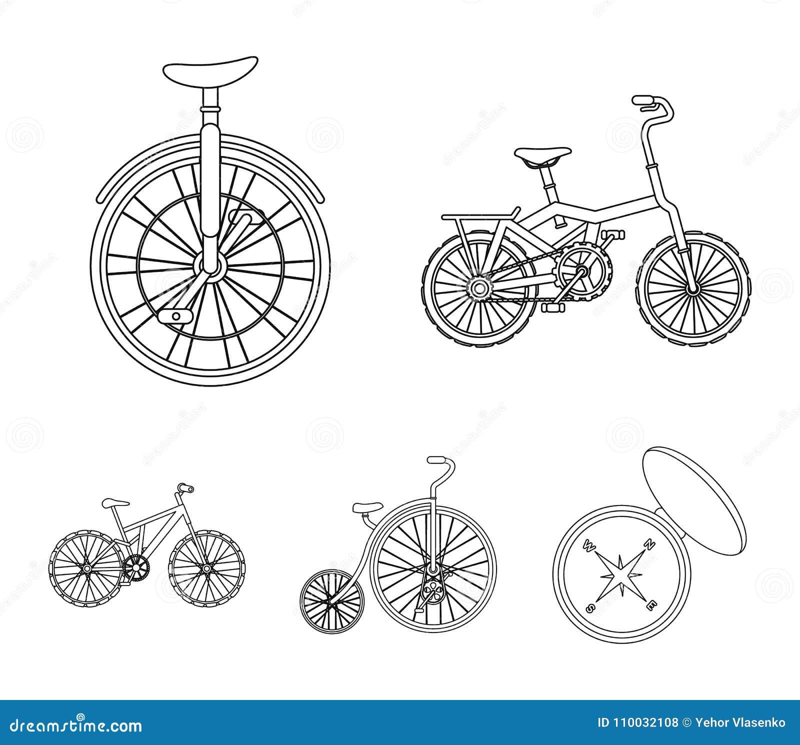 Retro, unicycle en andere soorten Verschillende fietsen geplaatst inzamelingspictogrammen in vector het symboolvoorraad van de ov