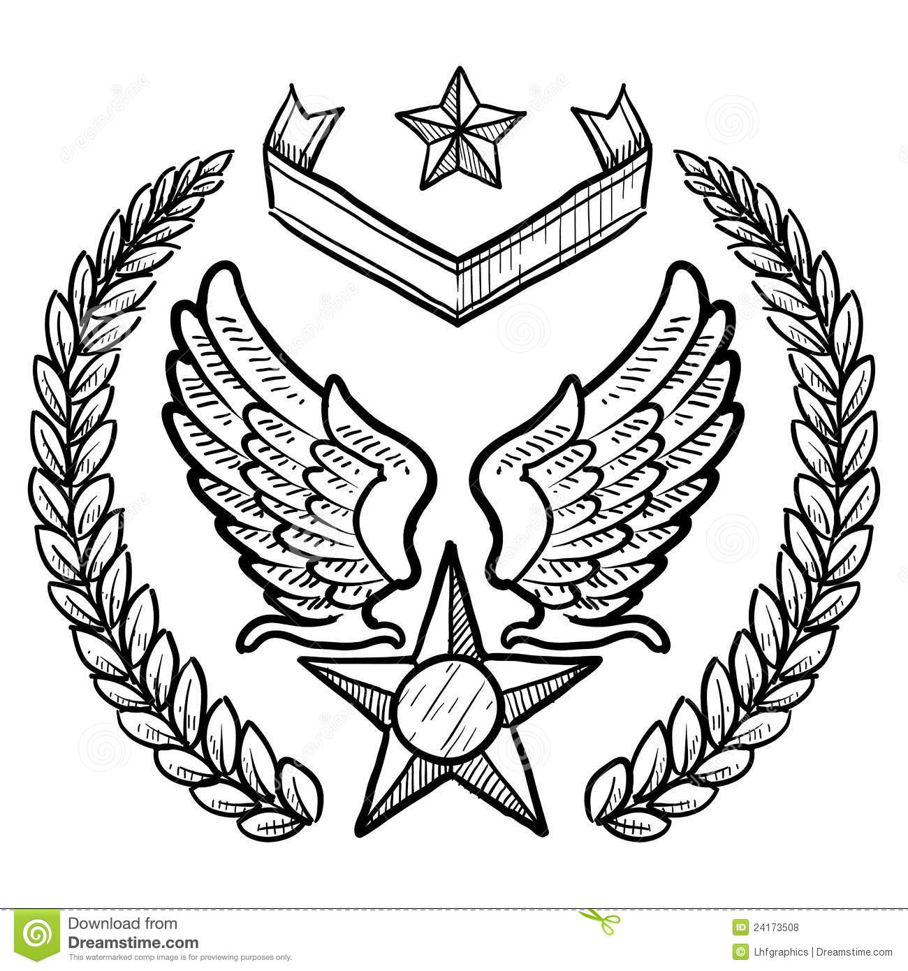 Uncategorized Air Force Coloring Pages retro us air force insignia with wreath stock vector image 24173508 wreath