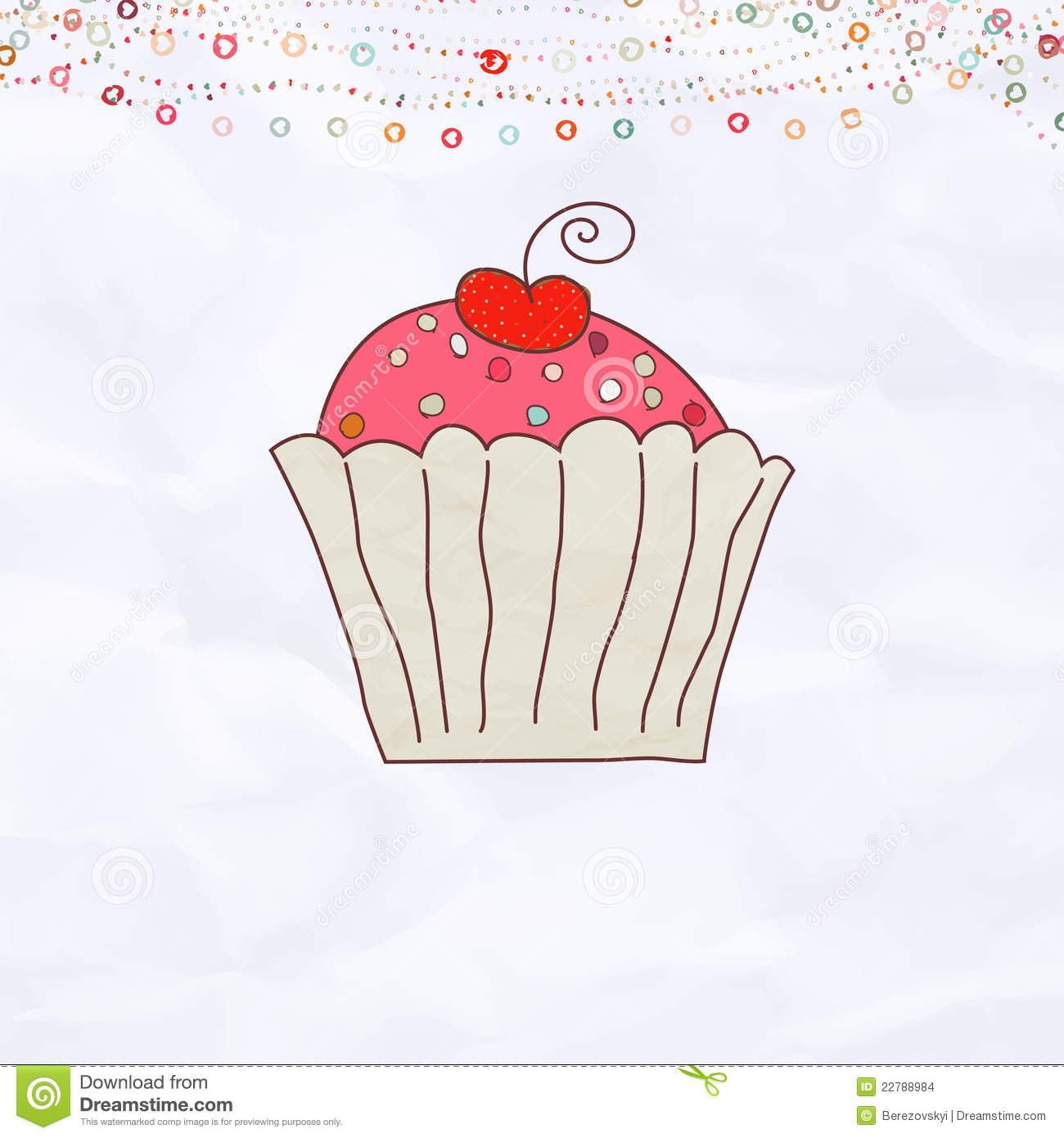 Retro Valentine Card With Cupcake EPS 8 Images Image – Cupcake Valentine Card