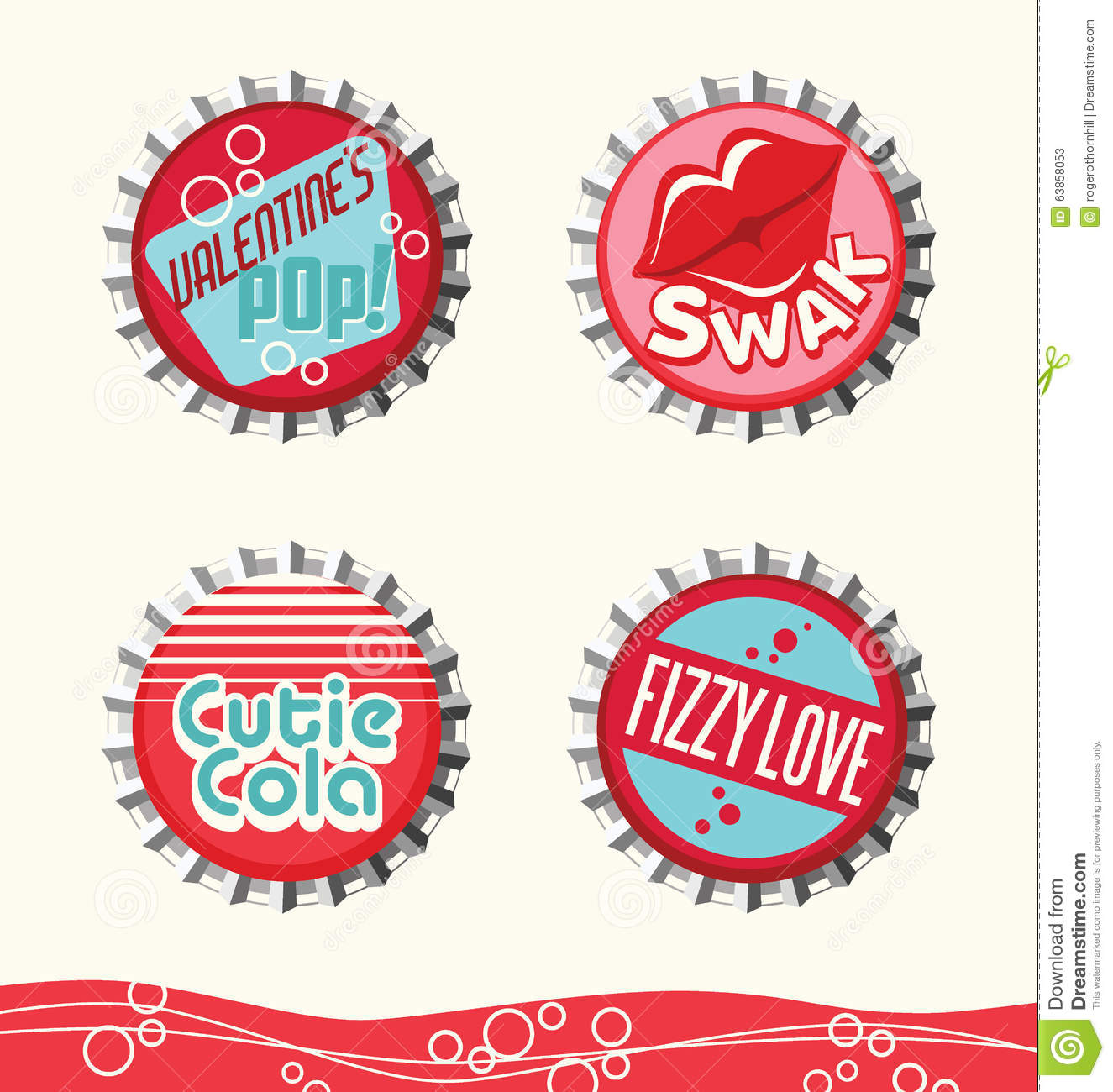 Retro Valentine Designs Stock Vector - Image: 63858053