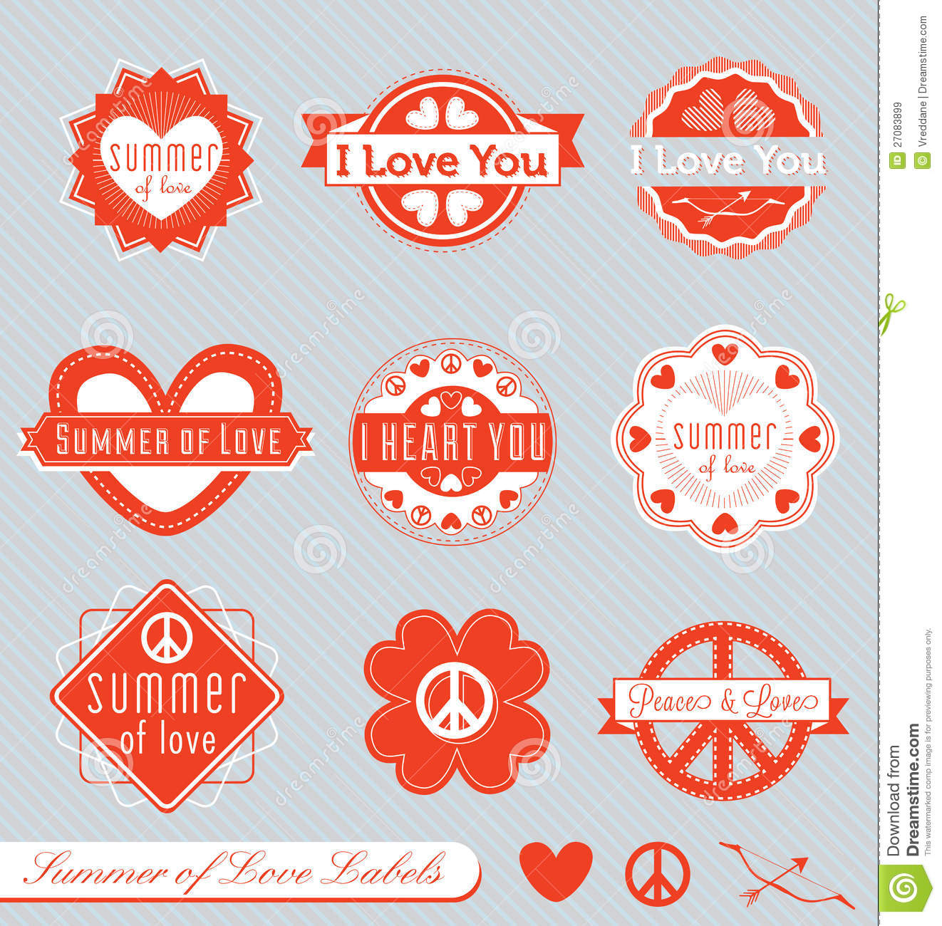 Retro Valentine Labels And Stickers