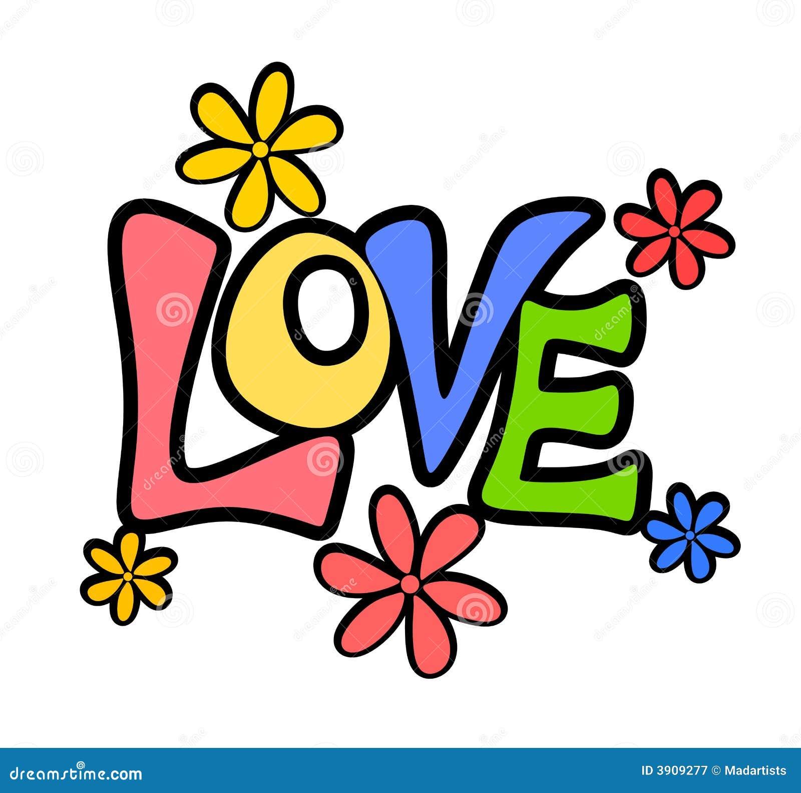 Retro Valentine Love Flowers Logo Or Banner Royalty Free ...
