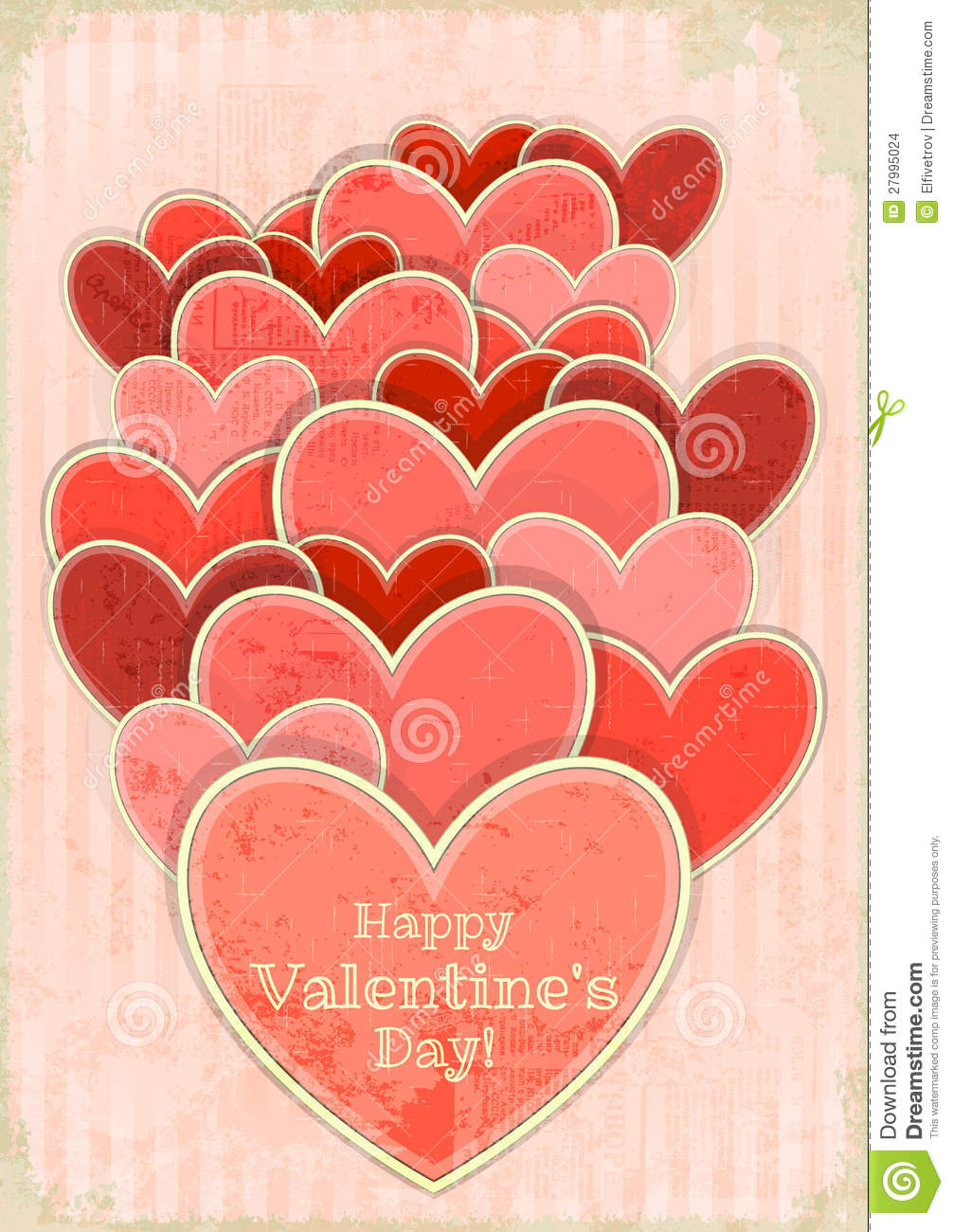 Valentine S Day Vintage Toys : Retro valentines day card with hearts stock vector