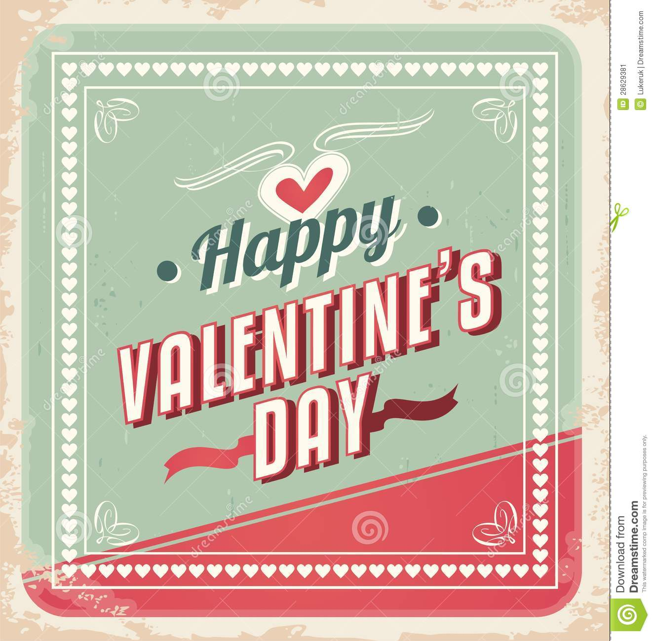 Valentine S Day Vintage Toys : Retro valentines day card vector stock
