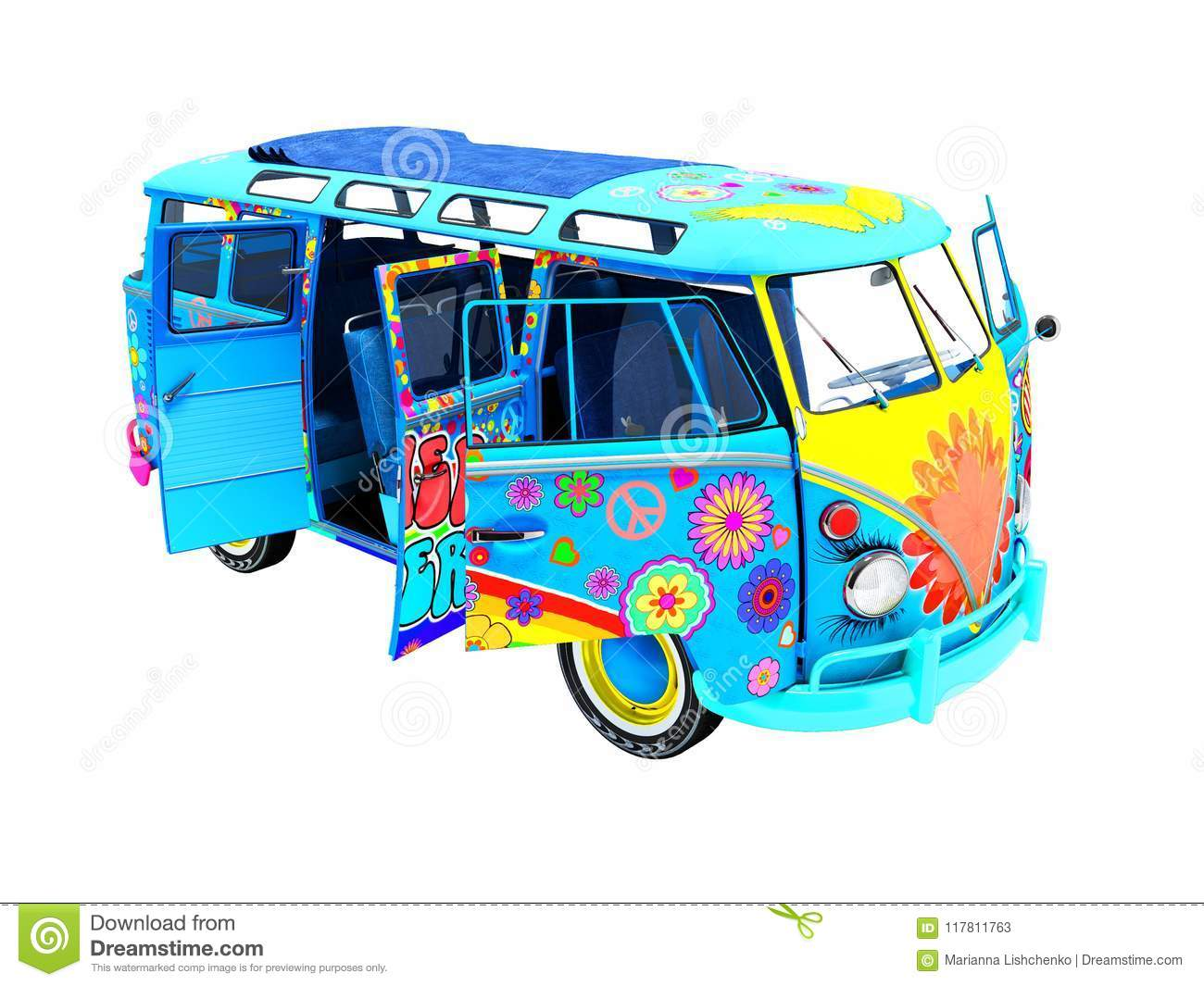 retro van blue in the schedule for trips to the beach outdoor 3d