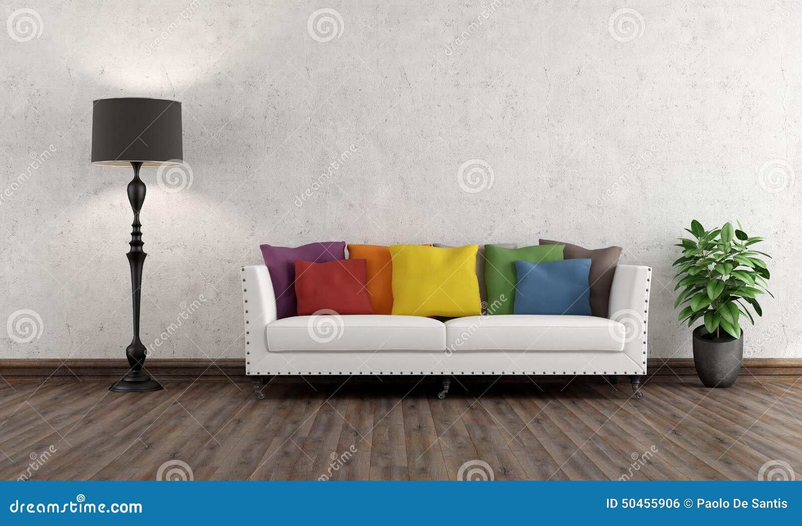 Retro vardagsrum med den färgrika soffan stock illustrationer ...