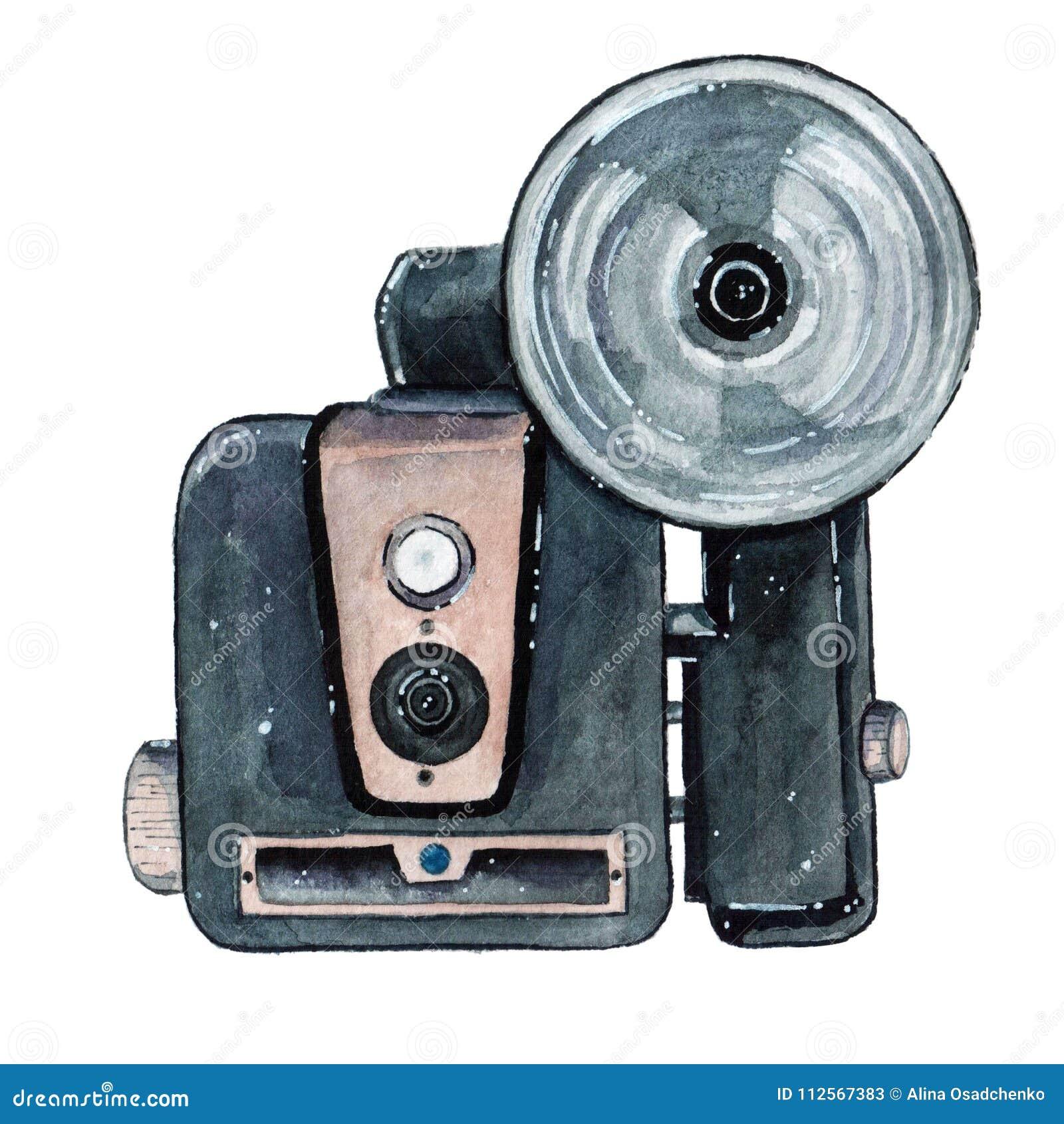Retro vattenfärgkamera för tappning Göra perfekt för fotografilogo