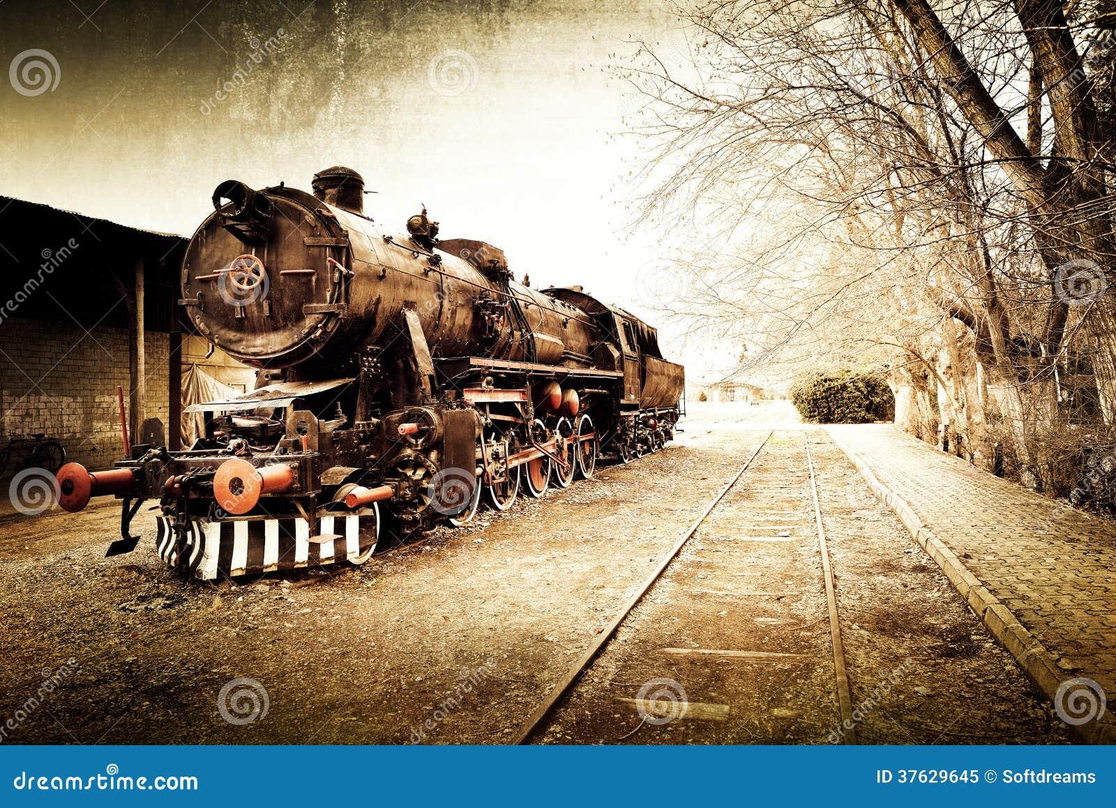 Retro vecchio fondo d annata del treno
