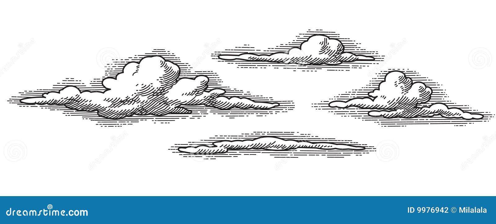 Облака нарисованные ручкой