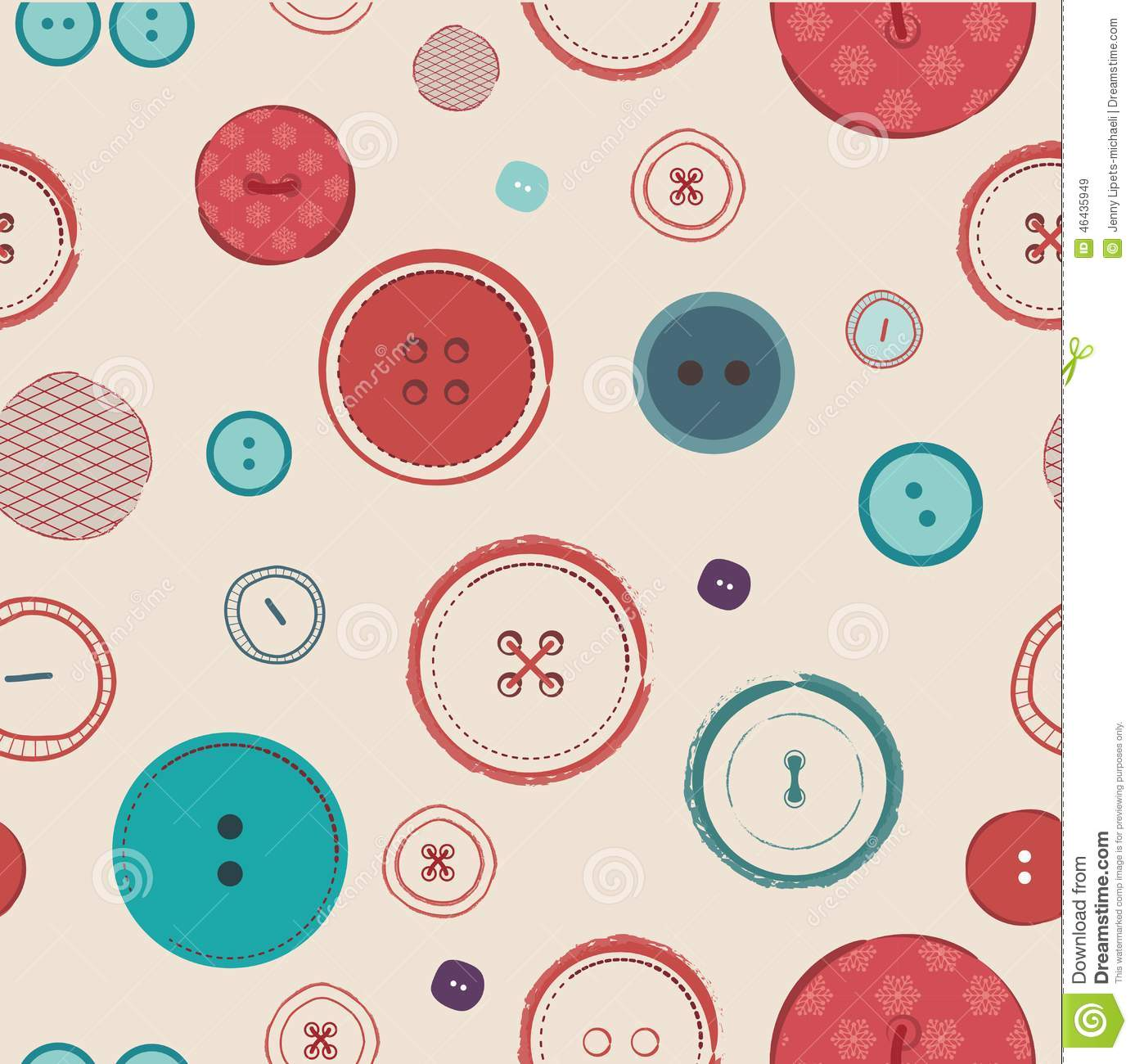 Retro Vector Seamless Pattern Bright Colors Buttons On