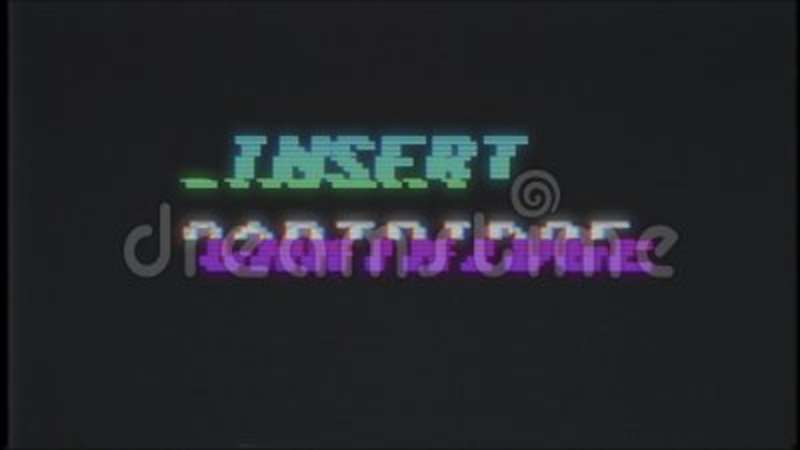 Retro videogame INSERT COIN text on computer old tv vhs glitch interference  noise screen animation seamless loop New  8bit, bits