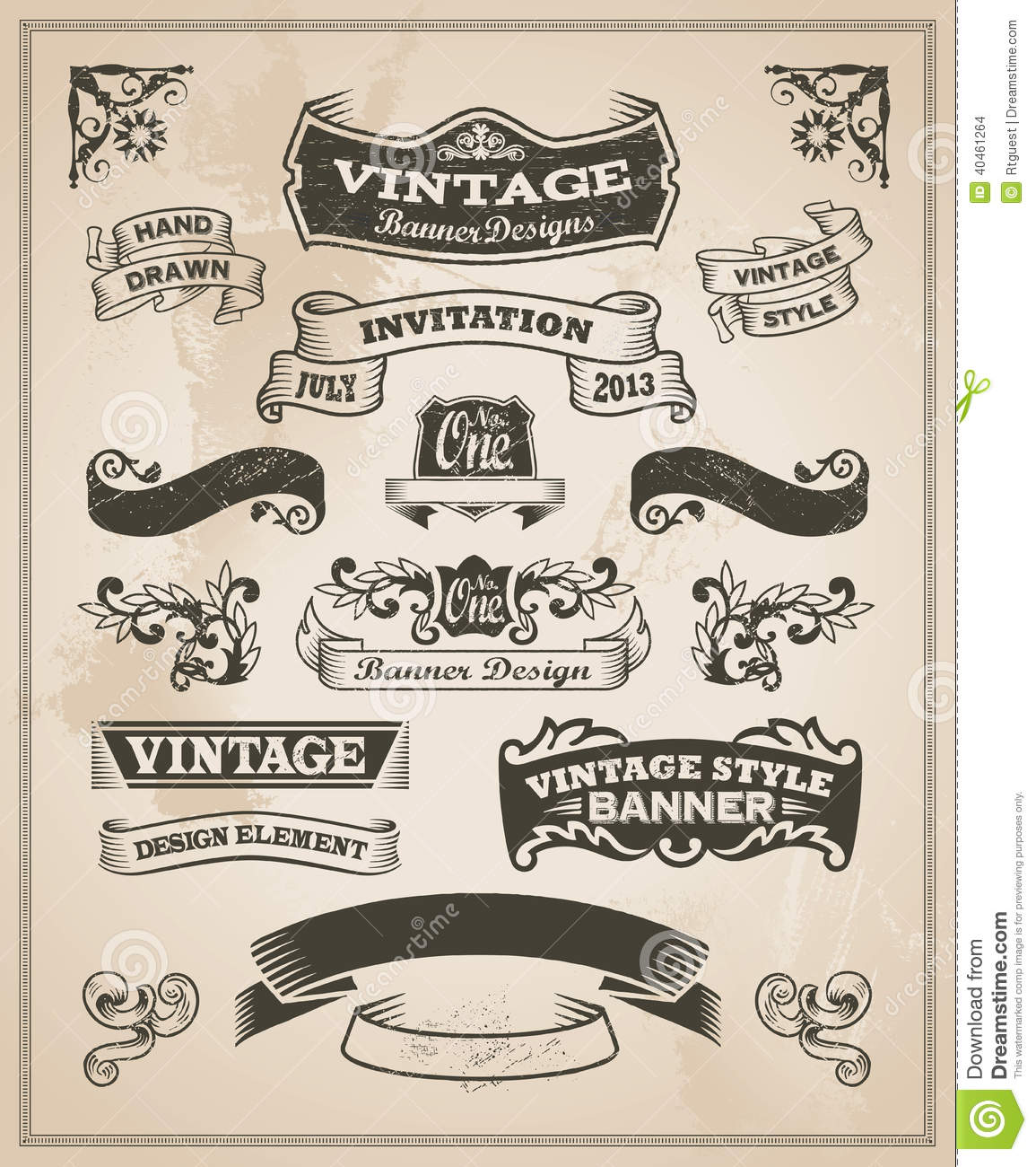 Retro vintage banner and ribbon set stock vector - Retro vintage ...