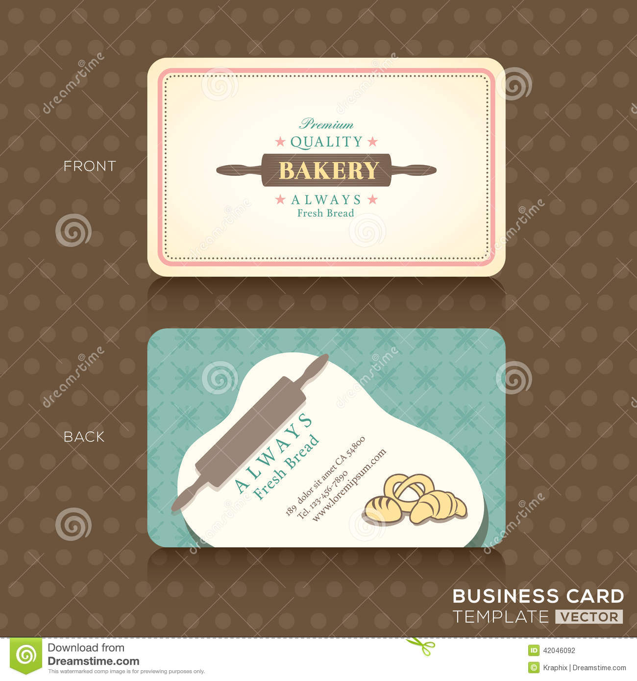 Retro Vintage Business Card For Bakery House Stock Vector
