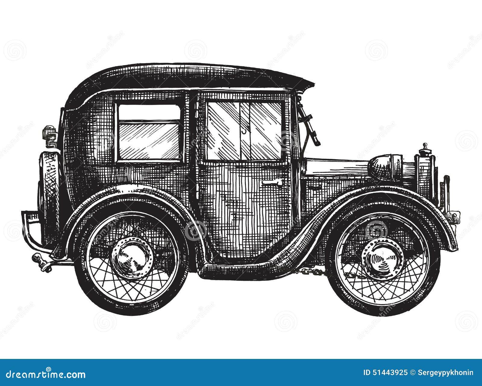 Retro, Vintage. Car On A White Background. Sketch Stock Illustration ...