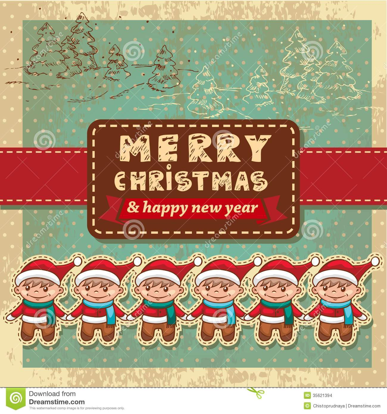 Retro vintage christmas card stock vector image 35621394 - Retro vintage ...