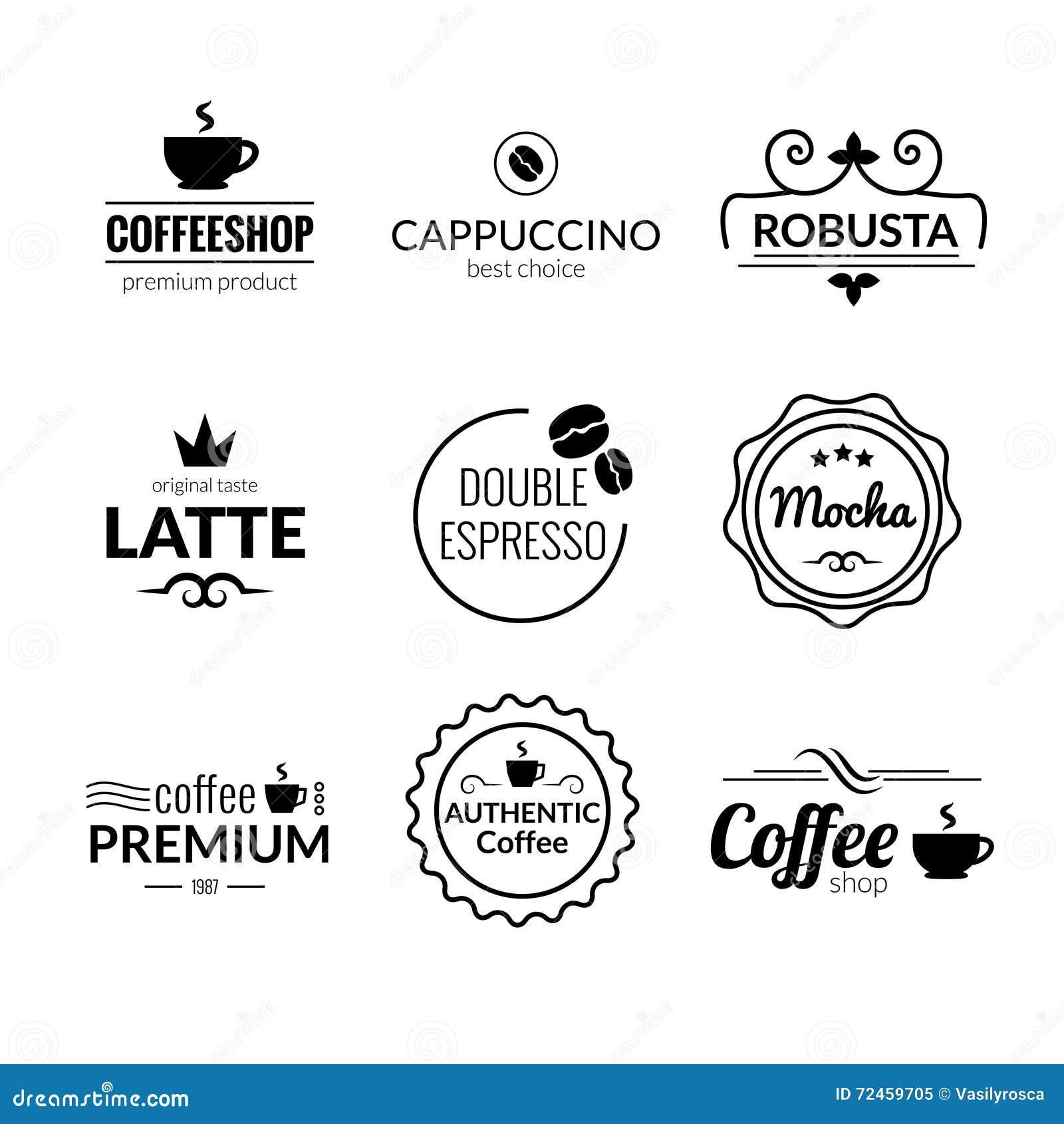 retro vintage coffee labels logo design vector typography lettering