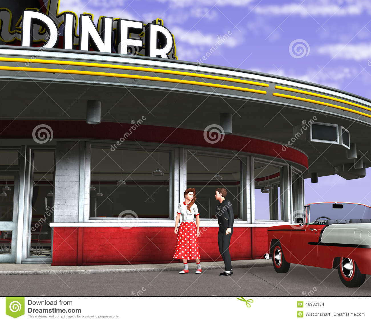 retro vintage fifties diner illustration stock illustration illustration of fifties dating. Black Bedroom Furniture Sets. Home Design Ideas