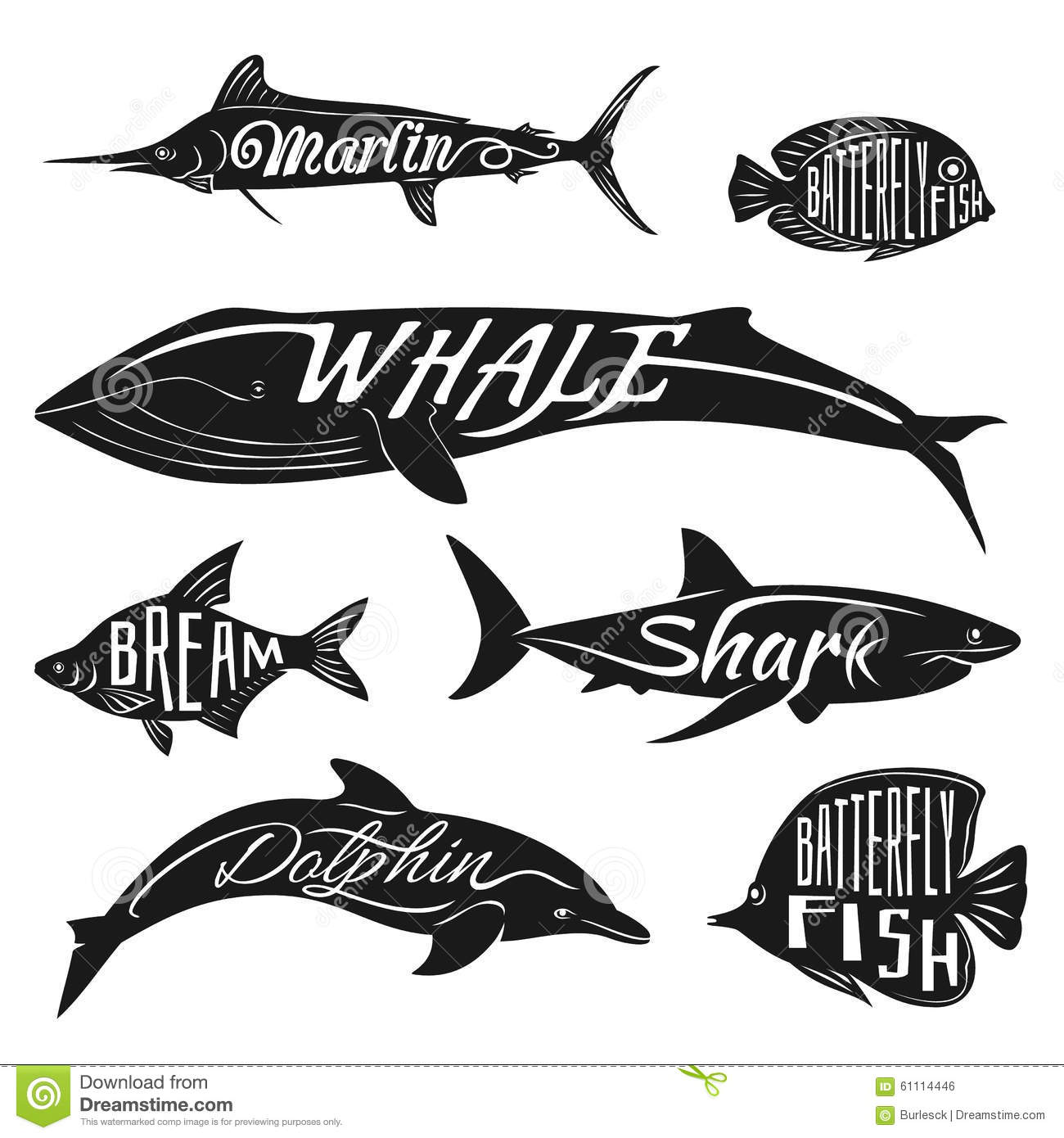 Retro vintage fish with names vector tattoo set stock for Fishing times free