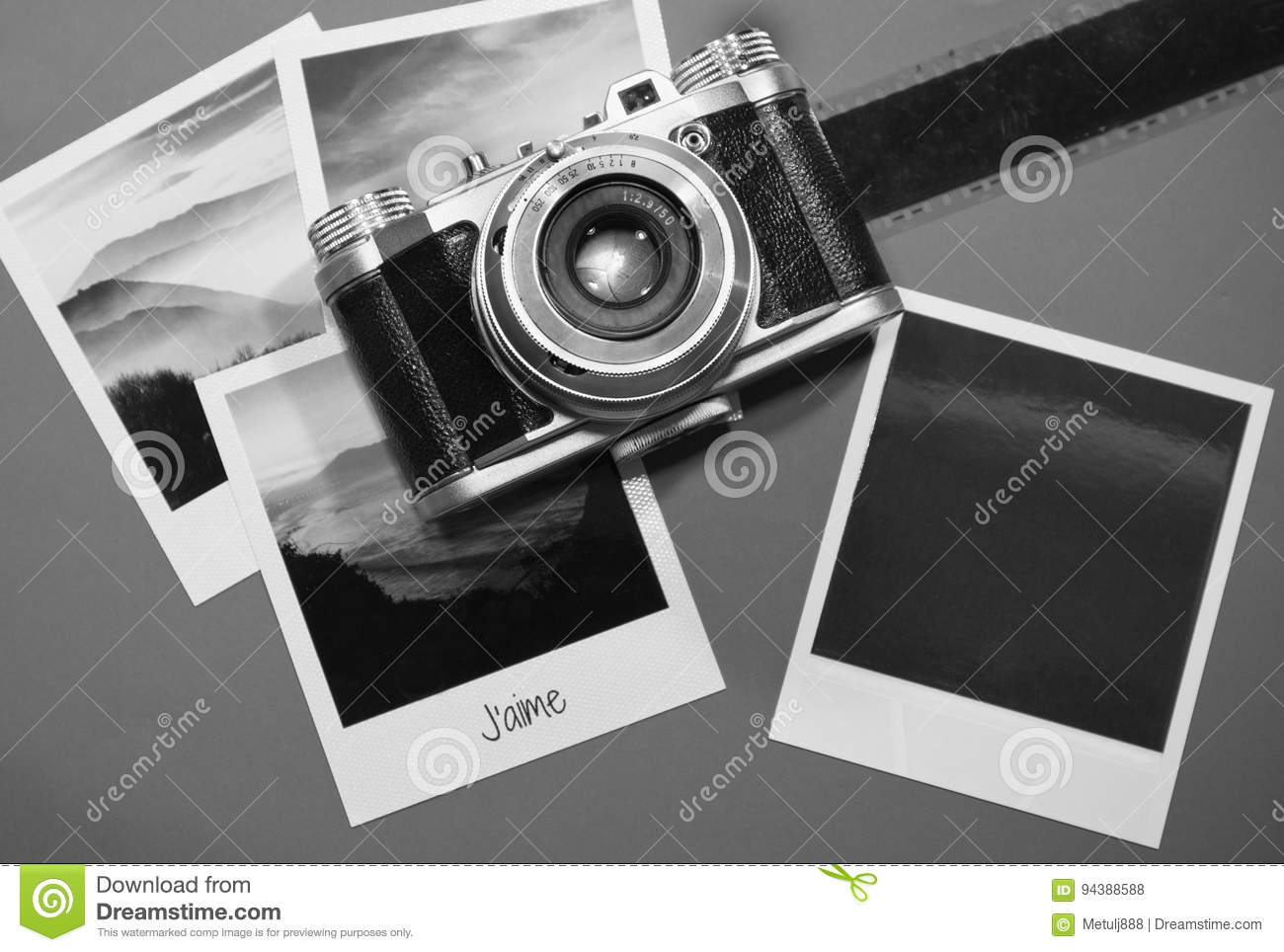 Retro vintage four instant photo frames cards on grey background with images of nature and blank photo with old camera film strip