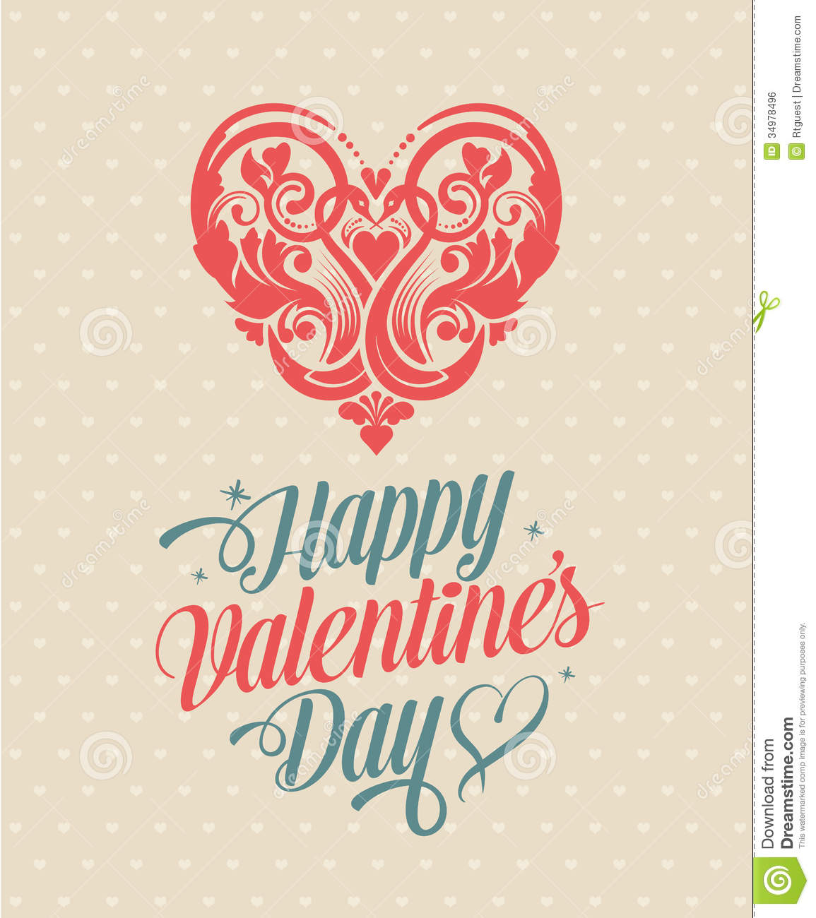 Retro Vintage Happy Valentines Day Greeting Card Stock Vector