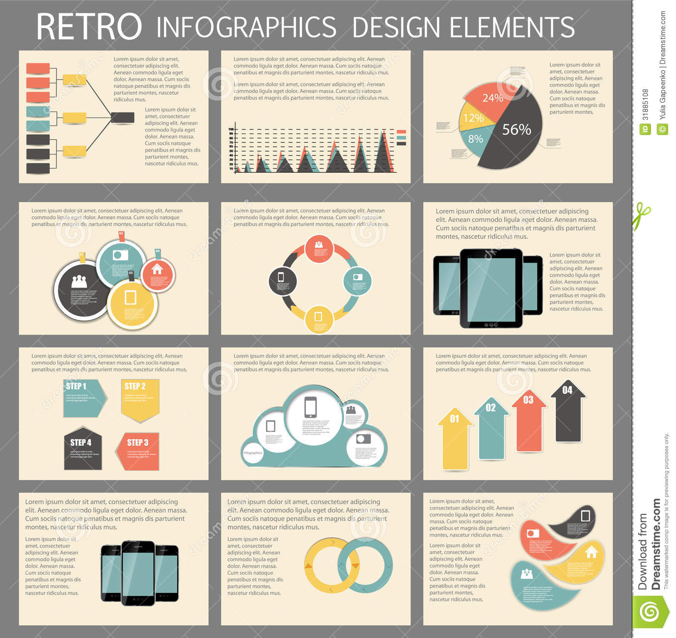 Retro Vintage Infographic Template Business Vector Royalty