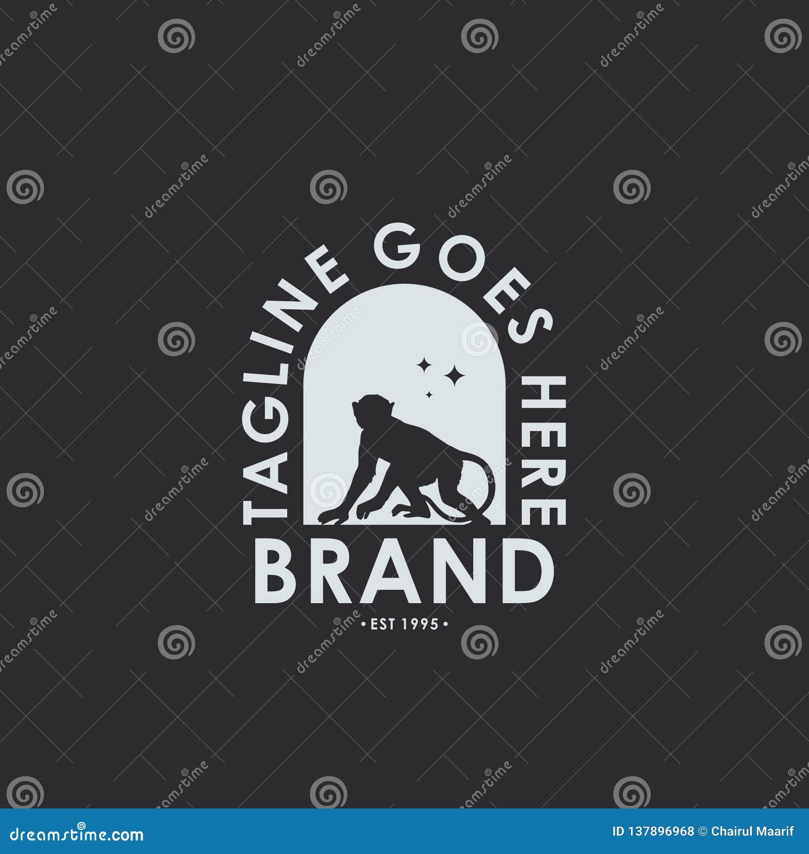 Retro vintage logo / monkey emblem Label logo design template