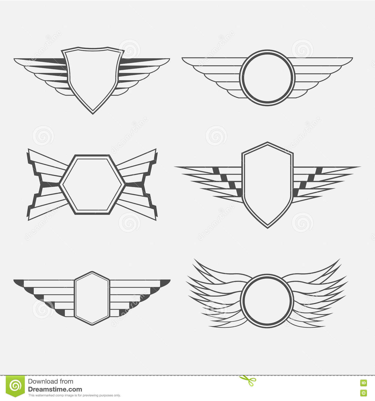 Retro Vintage Logotypes with wings