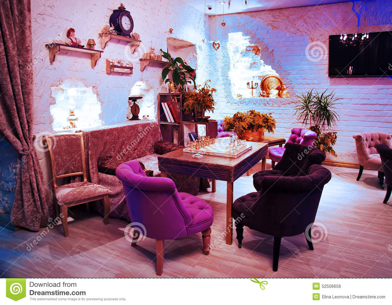 retro vintage luxury interior. restaurant, night club stock photo