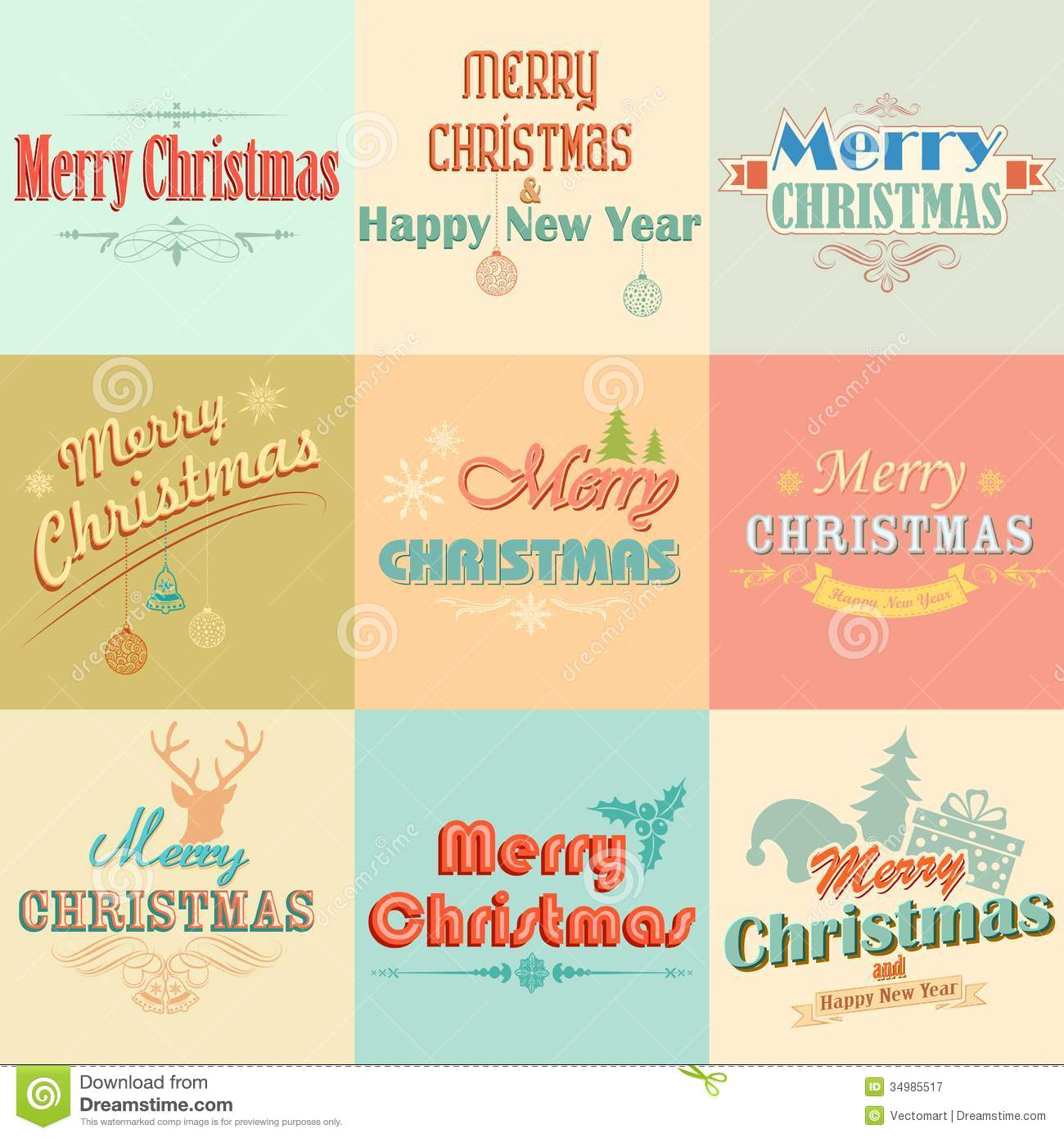 Retro Vintage Merry Christmas Labels Royalty Free Stock ...