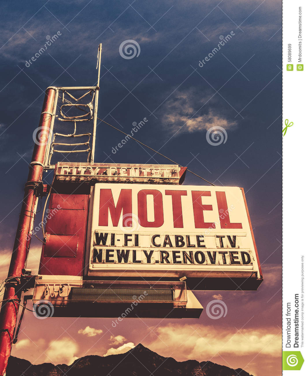 Retro Vintage Motel Sign Stock Photo - Image: 58089699