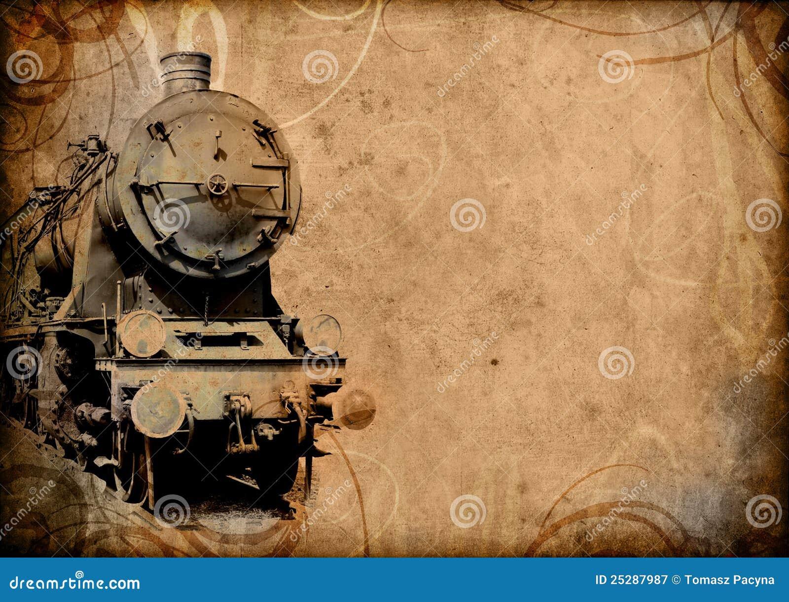Retro vintage old train background