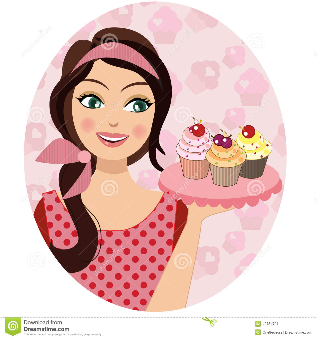 A Retro Vintage Portrait Of Woman Holding Cupcakes Baker Illustration 42754781