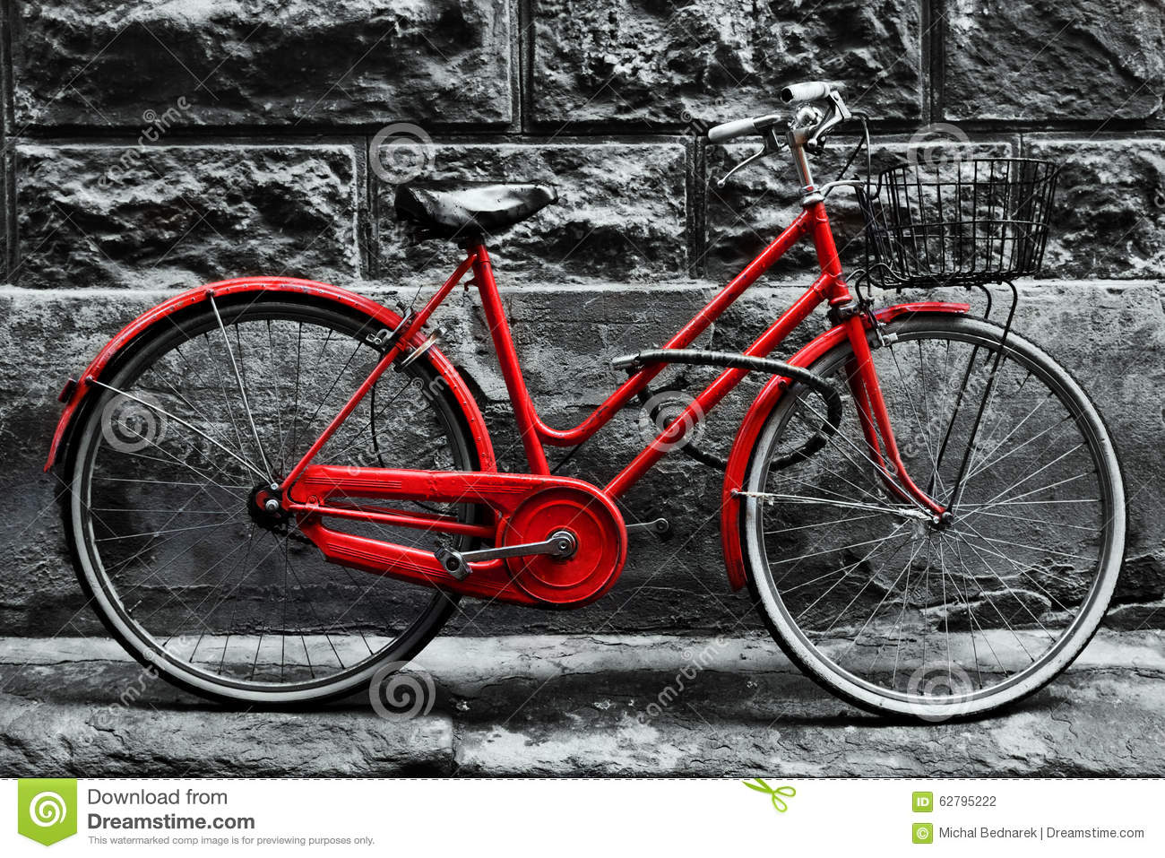 Retro Vintage Red Bike On Black And White Wall Stock