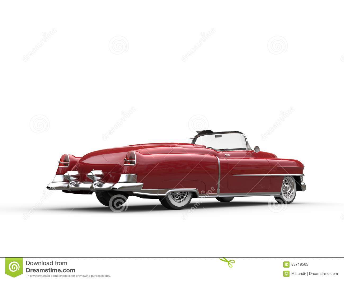 Retro Vintage Red Car - Back View Stock Illustration