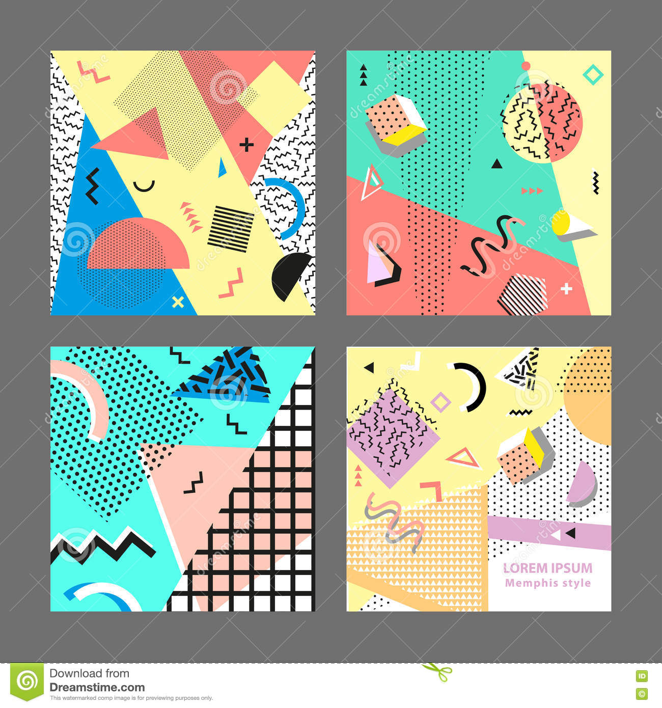 Poster design elements - Trendy Geometric Elements Modern Abstract Design Poster Retro Vintage 80s Or 90s Fashion Style Memphis Cards Big Set Trendy Geometric