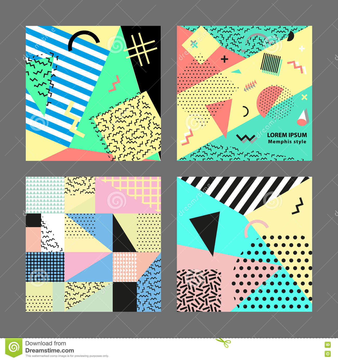 90s poster design - Retro Vintage 80s Or 90s Fashion Style Memphis Cards Big Set Trendy Geometric