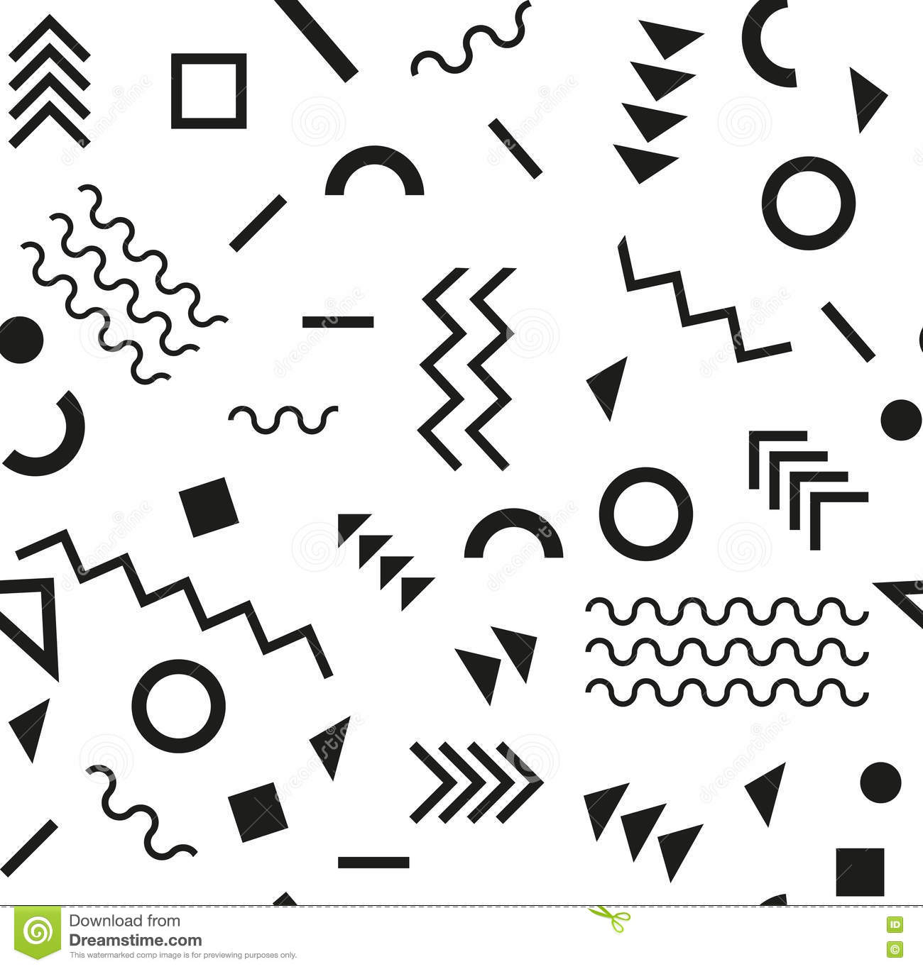 Retro vintage 80s or 90s fashion style. Memphis seamless pattern. Trendy geometric elements. Modern abstract design