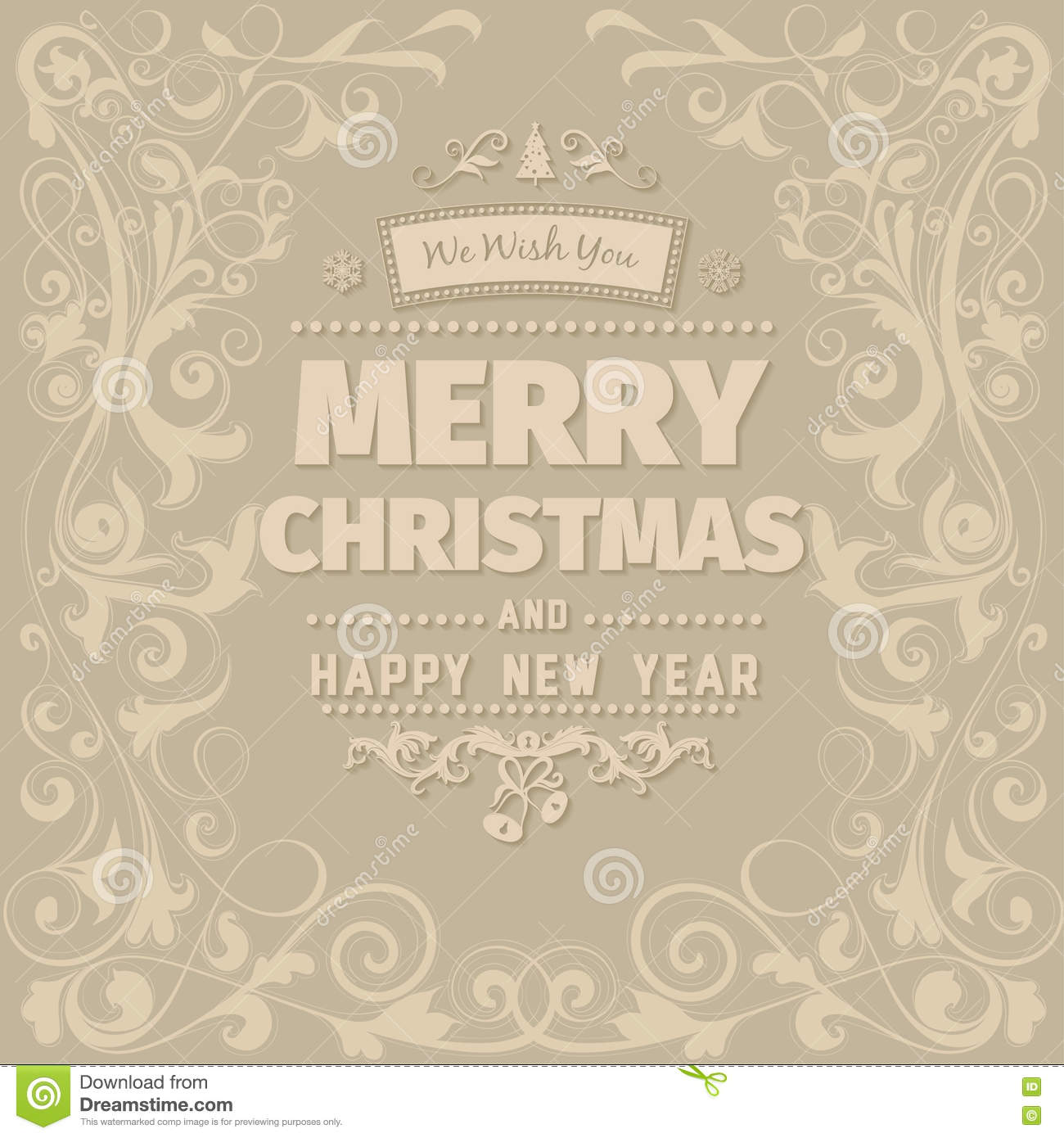 Retro Vintage Simple Merry Christmas Greeting Card Stock