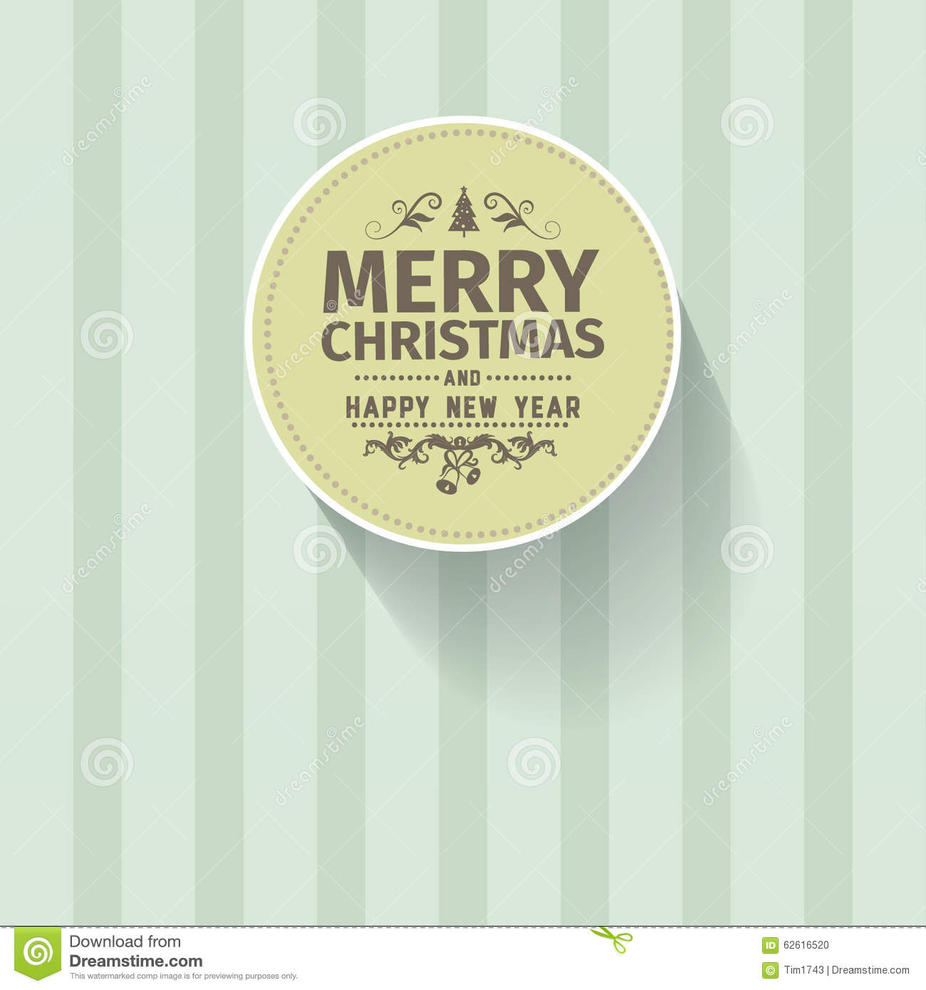 Easy Year To Travel On Christmas: Retro Vintage Simple Merry Christmas Vector Greeting Green