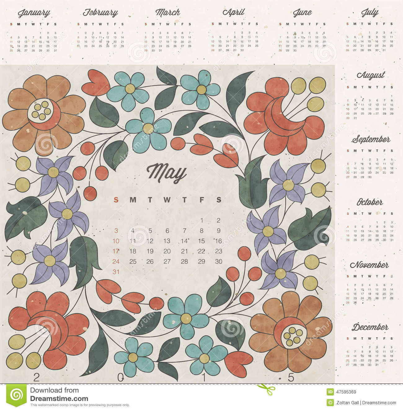 Retro Calendar Design : Retro vintage style calendar design vector