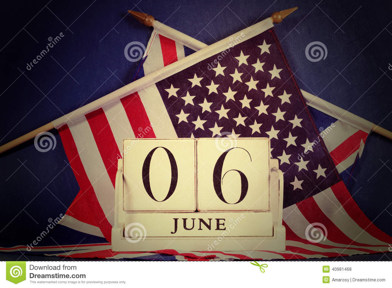 retro vintage style d day calendar and usa and british flags stock