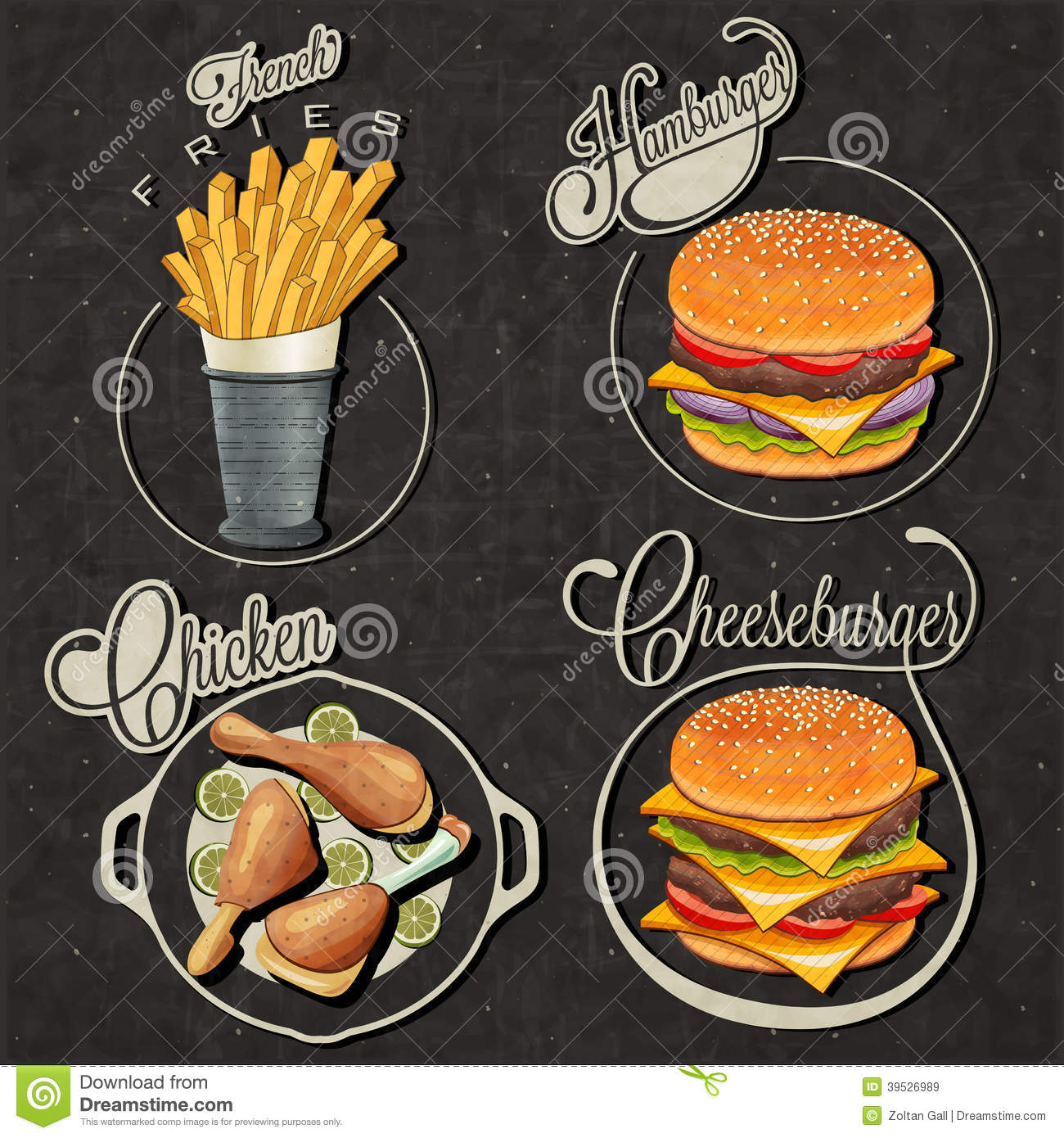 Retro vintage style fast food designs stock vector Cuisine style retro