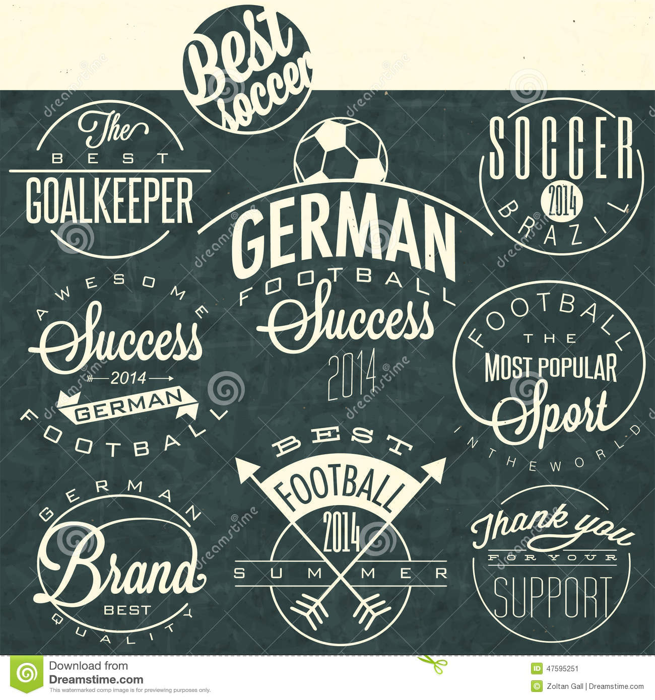 Retro Vintage Style Soccer Emblem Collection Stock Vector ...