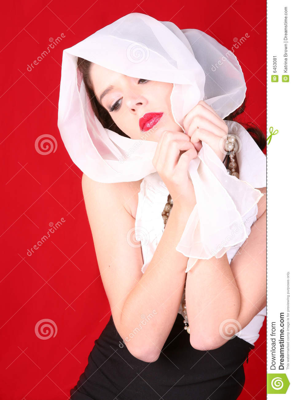 Retro Vintage Style Woman With Scarf on Her Head