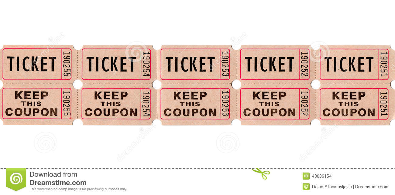 retro vintage tickets and coupons stock photo image 43086154. Black Bedroom Furniture Sets. Home Design Ideas