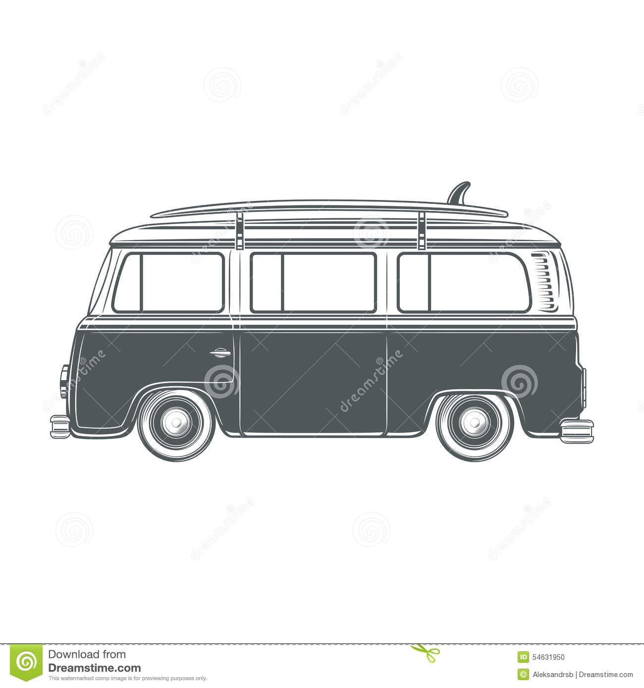 Retro Vintage Travel Camper Van With Surf
