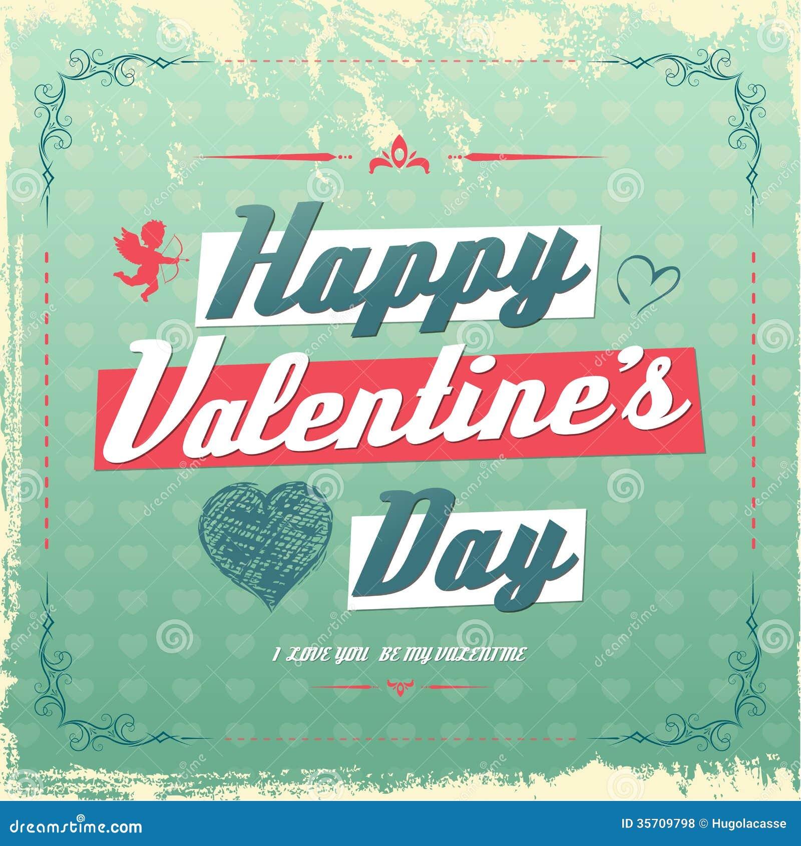 retro vintage valentine s day greeting card design - Vintage Valentines Day