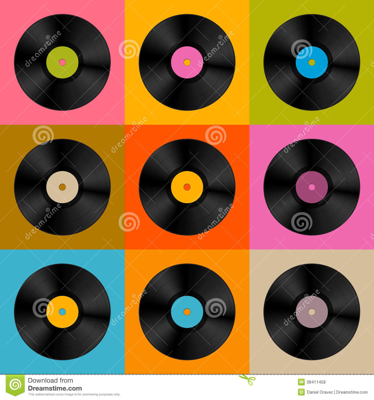 Retro, Vintage Vector Vinyl Record Disc